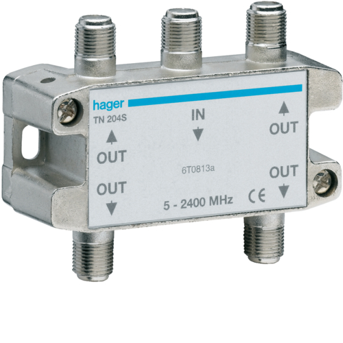 TN204S TV/SAT SPLITTER 4 WAYS (DIN RAIL CLIP)