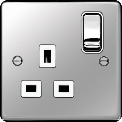 WRSS81PSW 1G DP SW SOCKET POLISHED STEEL WHITE