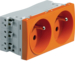WS122E Systo 2-g socket 2P+T screwless Orange