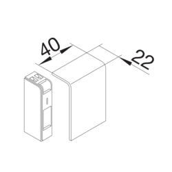 Product Drawing 20 x 55 left & right end cap Endcap PC-ABS