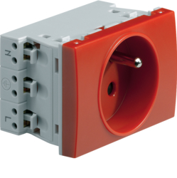 WS121R Systo Socket 2P+T 16A for trunking Red